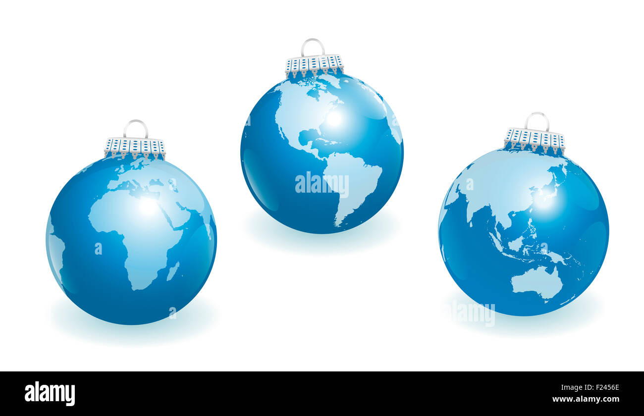blue christmas tree balls with three different angles of the world three dimensional illustration on white background - Blue Christmas Tree Ornaments