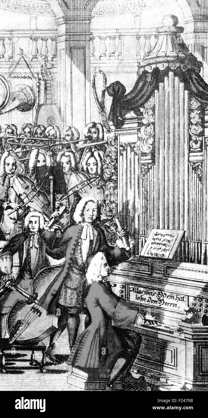 MUSICALISCHES LEXIKON Illustration from the 1732 book by Johann Walther defining over 3000 musical terms - Stock Image