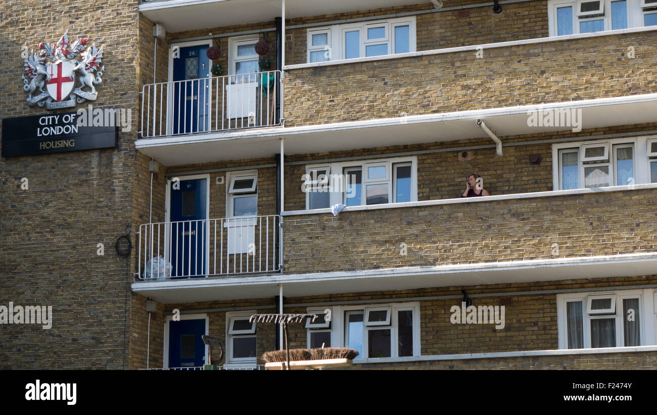 City of London, council local authority housing estate,  Flats on estate in South London - Stock Image