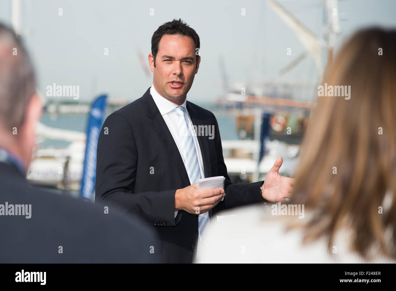 Southampton, UK. 11th September 2015. Southampton Boat Show 2015. Will Green, Sales Director of Princess launches Stock Photo