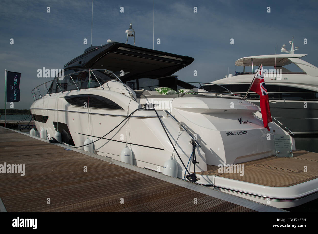 Southampton, UK. 11th September 2015. Southampton Boat Show 2015. The Princess V58 Open launched at the show. Credit: Stock Photo
