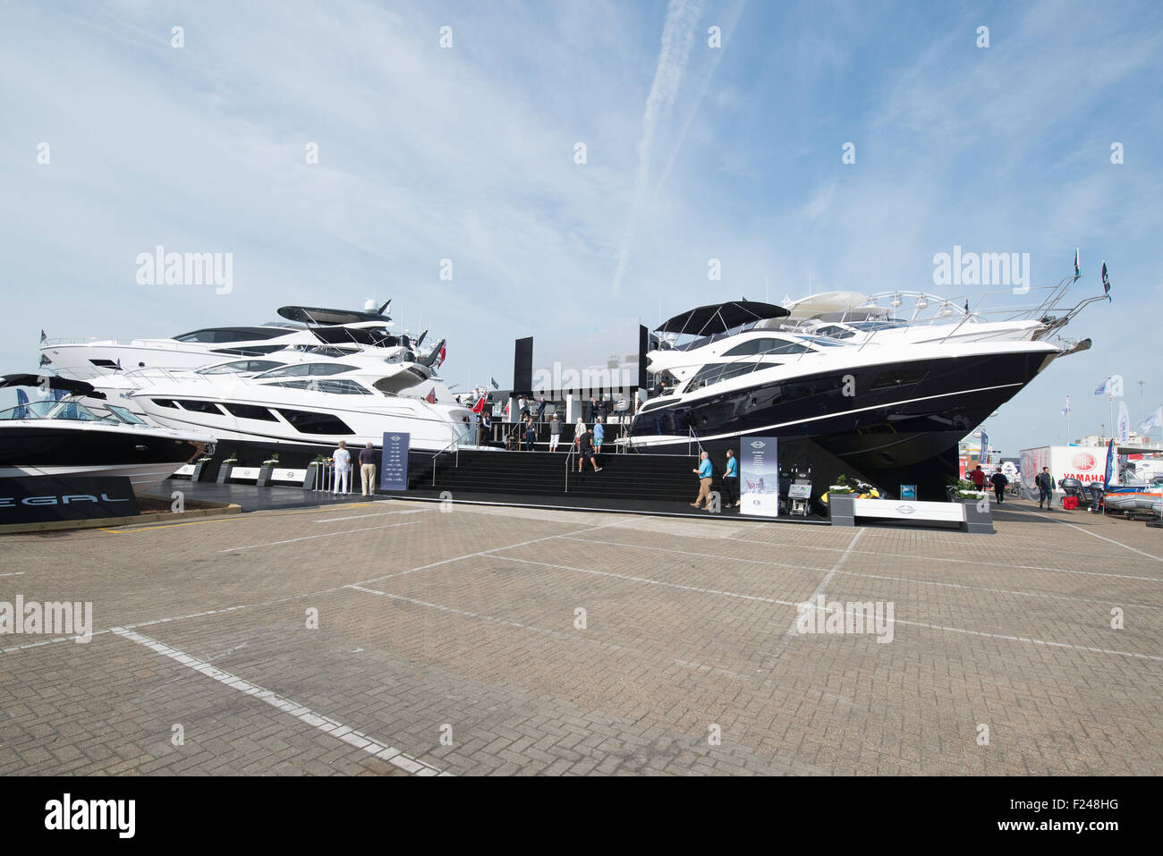 Southampton, UK. 11th September 2015. Southampton Boat Show 2015. The Sunseeker stand featured tiers of boats. Credit: Stock Photo