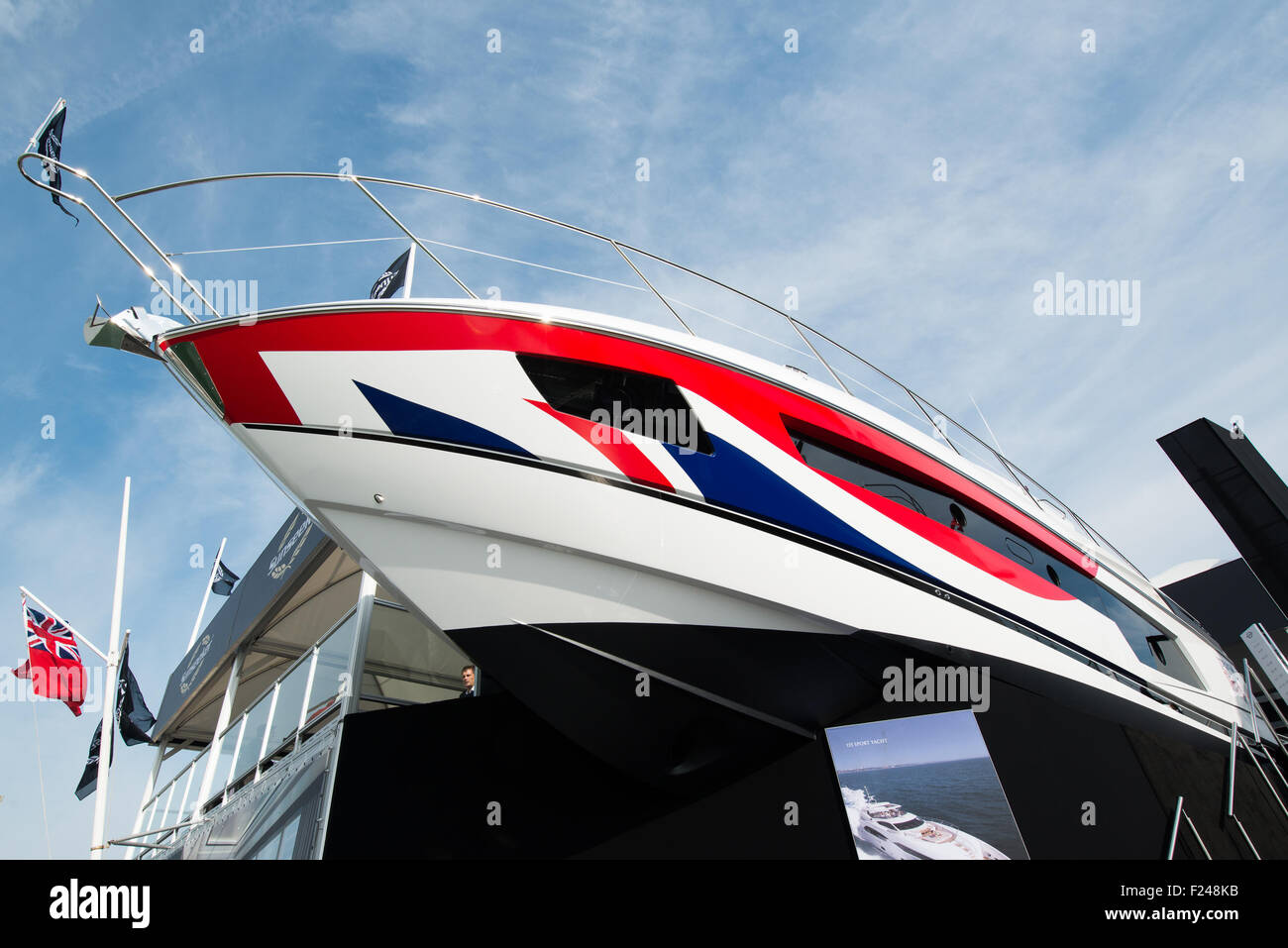 Southampton, UK. 11th September 2015. Southampton Boat Show 2015. A Sunseeker 115 sport yacht seen on the stand Stock Photo