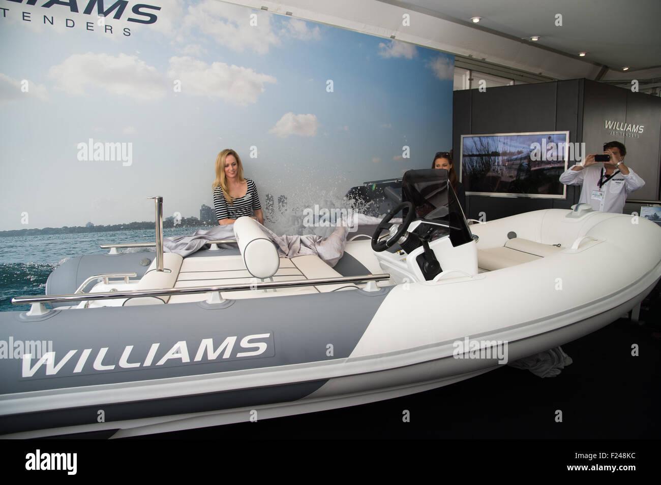 Southampton, UK. 11th September 2015. Southampton Boat Show 2015. Williams Tenders unveil their Sportjet 400 at Stock Photo
