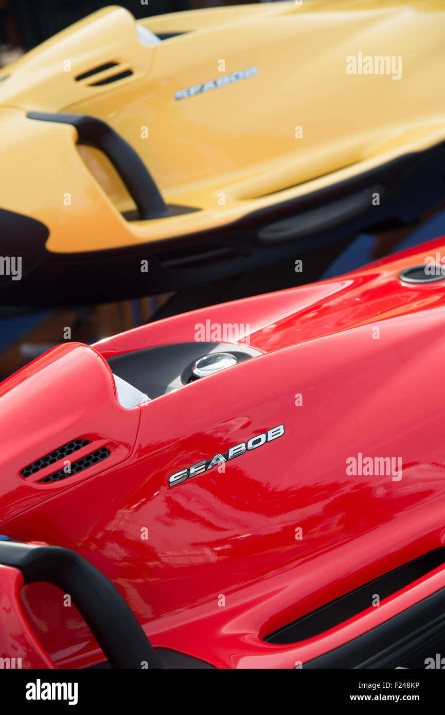 Southampton, UK. 11th September 2015. Southampton Boat Show 2015. Seebob underwater jetskis on display at the show. Stock Photo