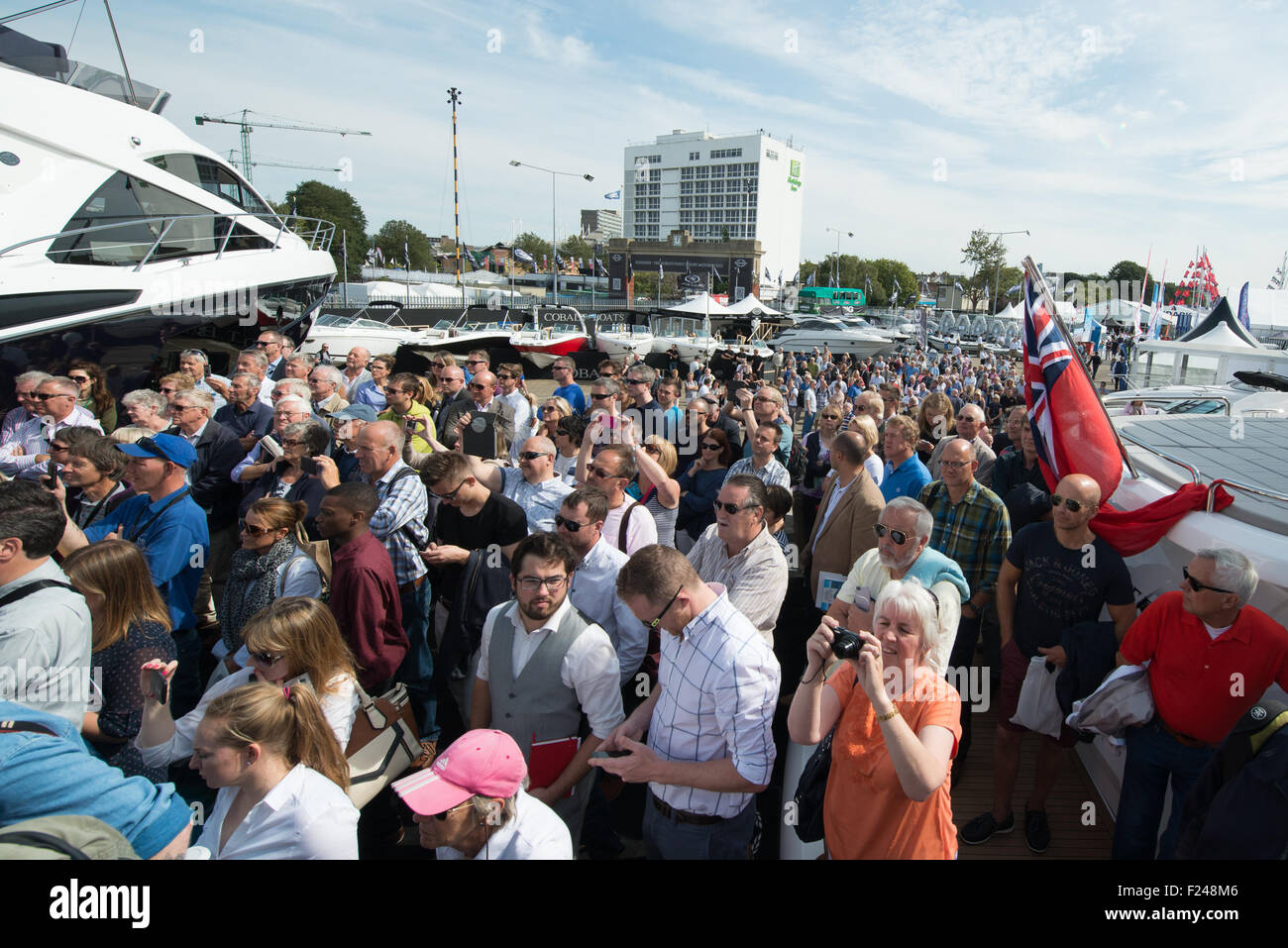 Southampton, UK. 11th September 2015. Southampton Boat Show 2015. Crowds of visitors flock to the Sunseeker stand Stock Photo