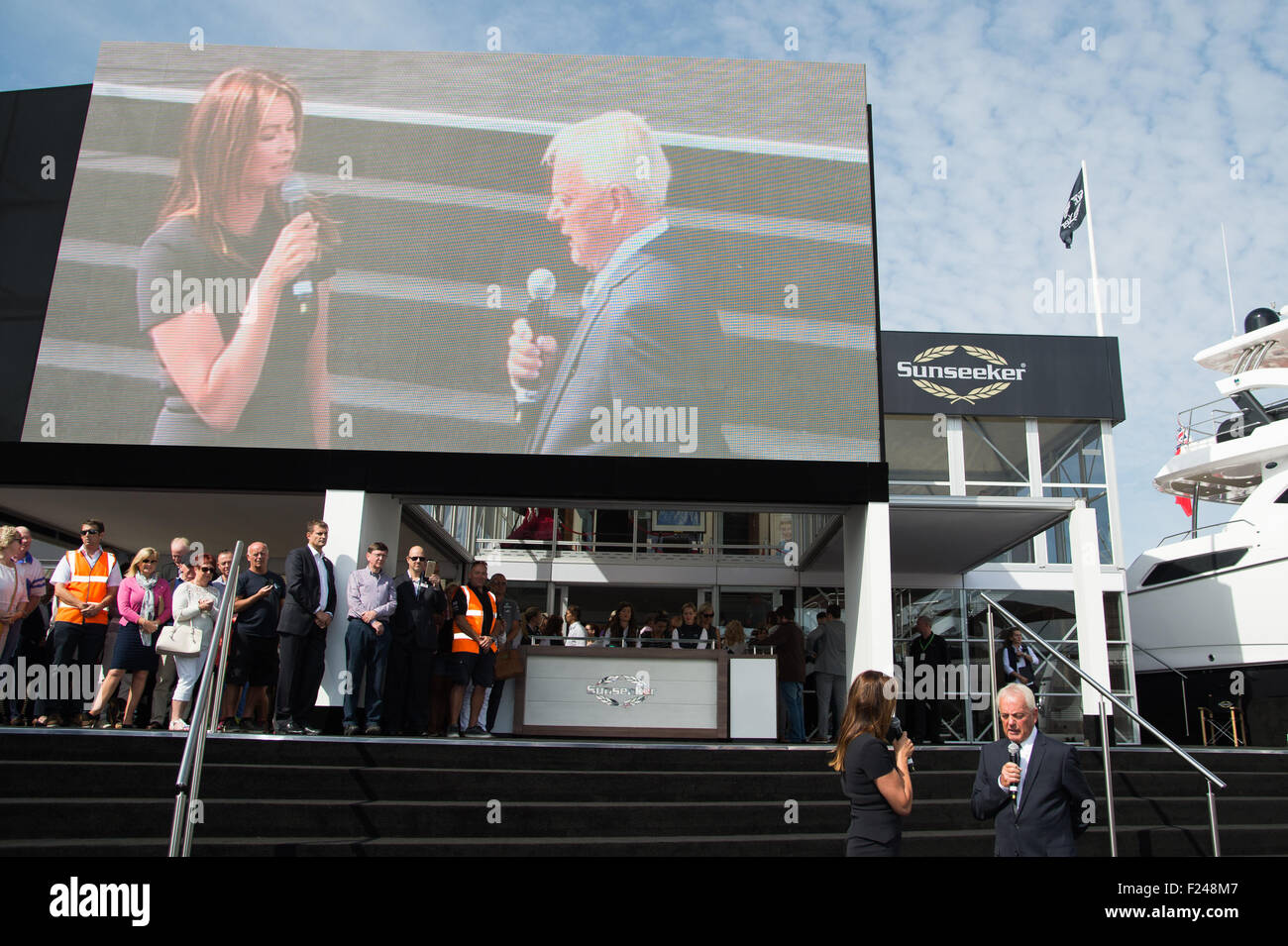 Southampton, UK. 11th September 2015. Southampton Boat Show 2015. Suzy Perry discusses Sunseeker and Forumla One Stock Photo