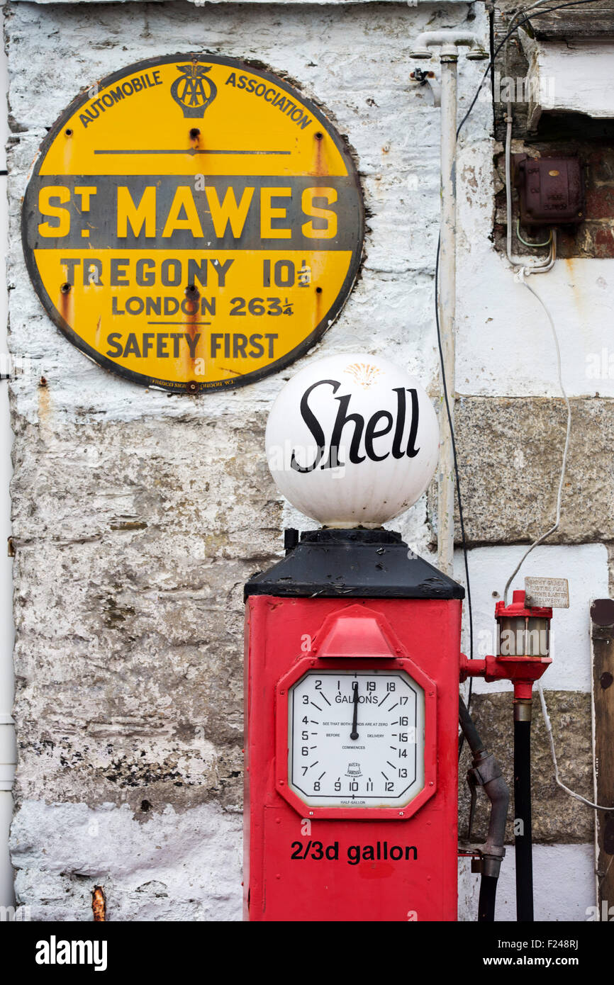 Old petrol pumps in St Mawes, Cornwall, UK. - Stock Image