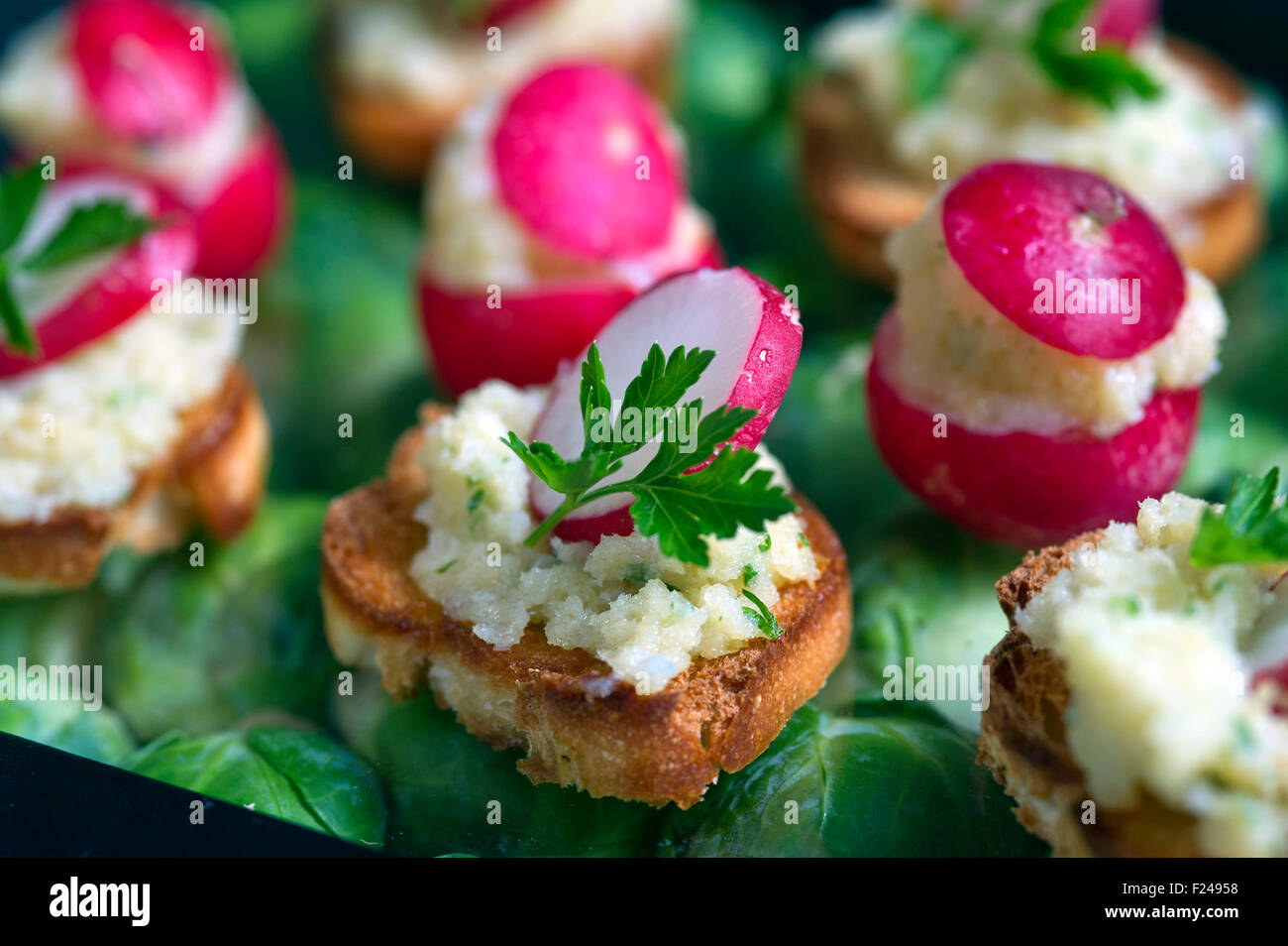 Canapes, small finger food suitable for parties. - Stock Image