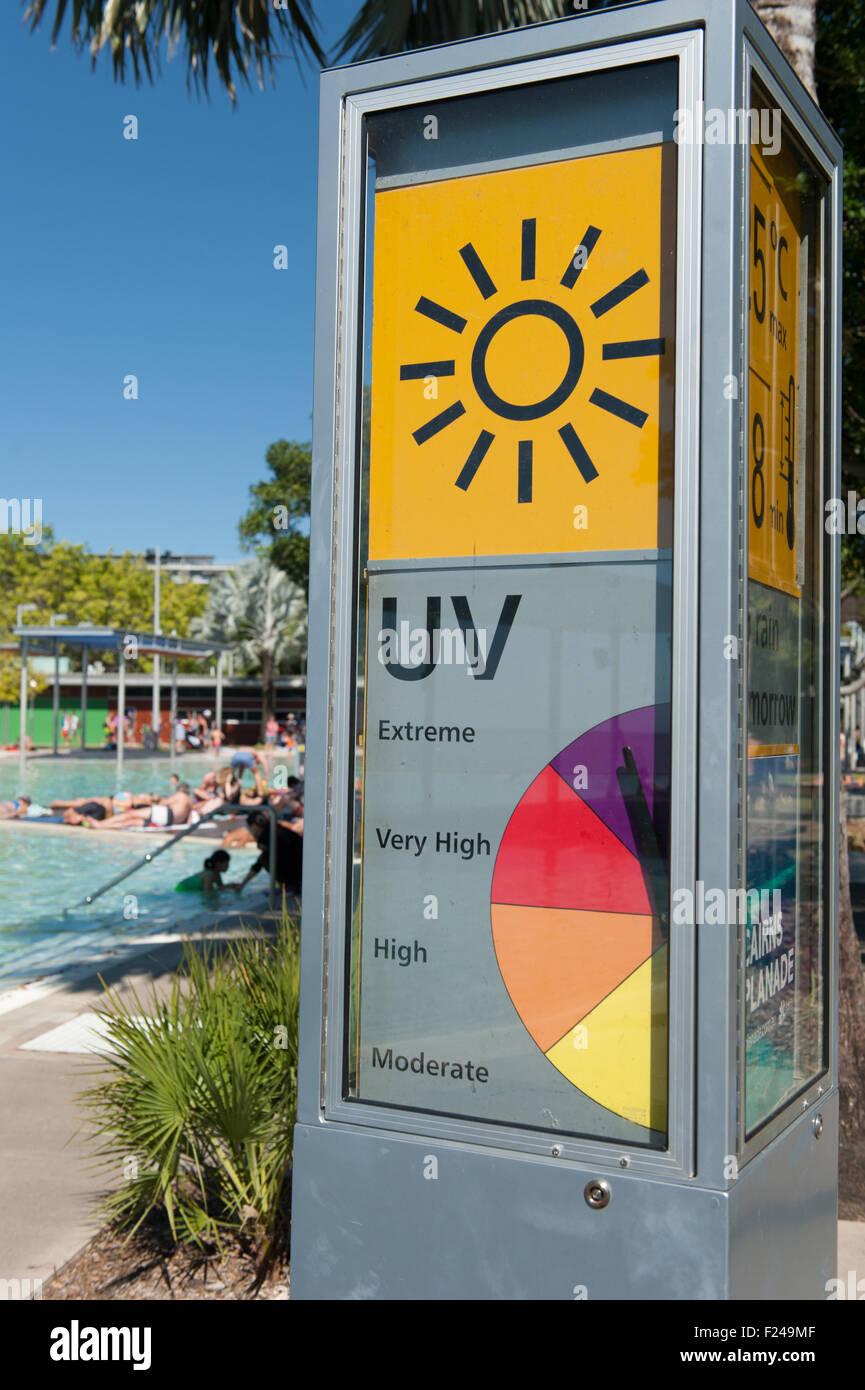 UV rating info at the lagoon, Esplanade, Cairns, tropical north Queensland, Australia - Stock Image