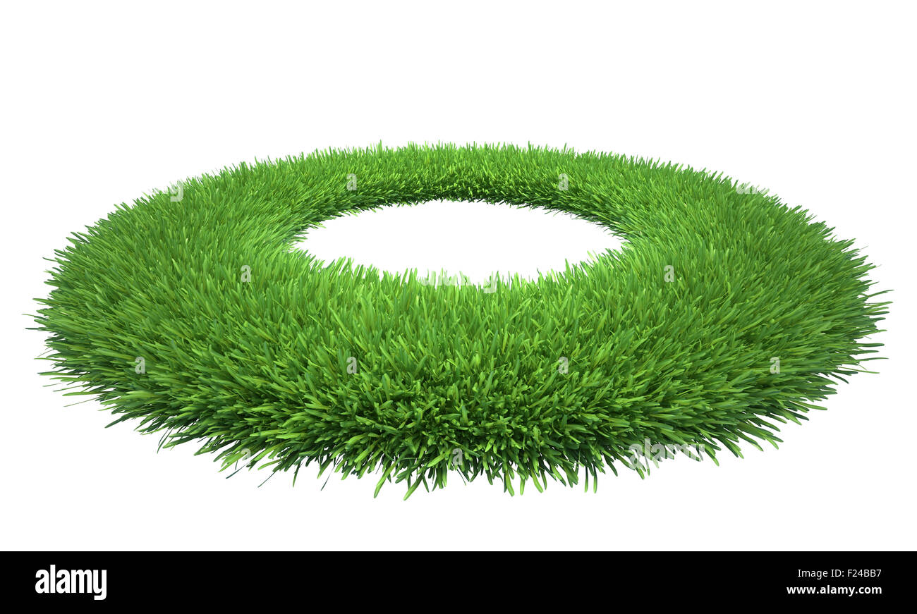Lawn of green grass with a hole in the midst. Isolated on white background - Stock Image