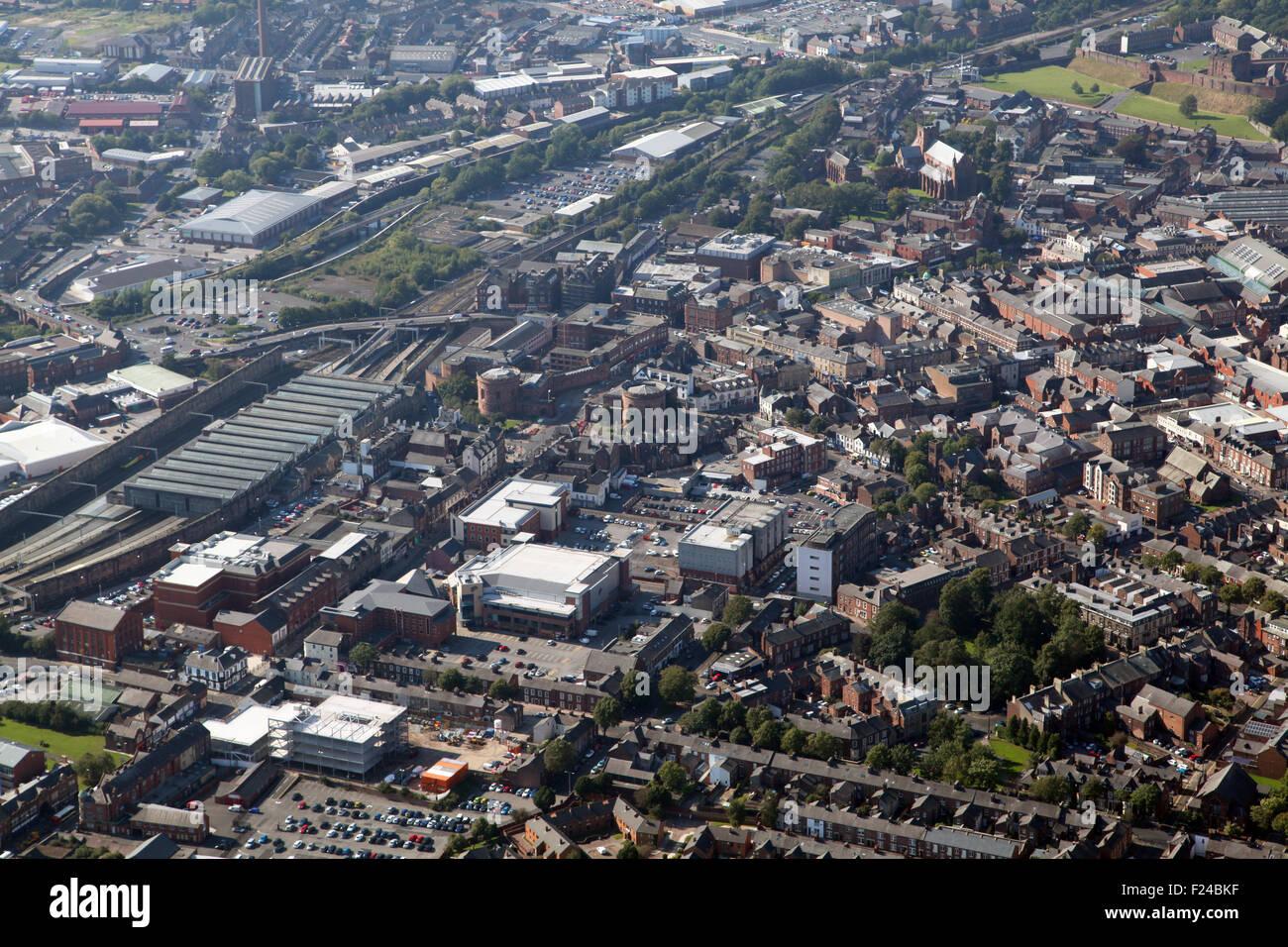aerial view of Carlisle city centre, Cumbria, UK - Stock Image