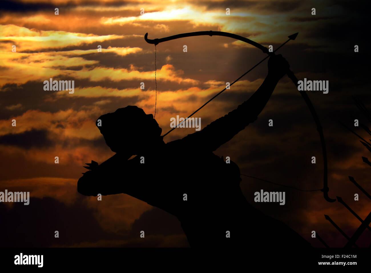 An ancient mythological archer or Arjun one of the pandavas from hindu scripture or mythology - Mahabharata on the - Stock Image
