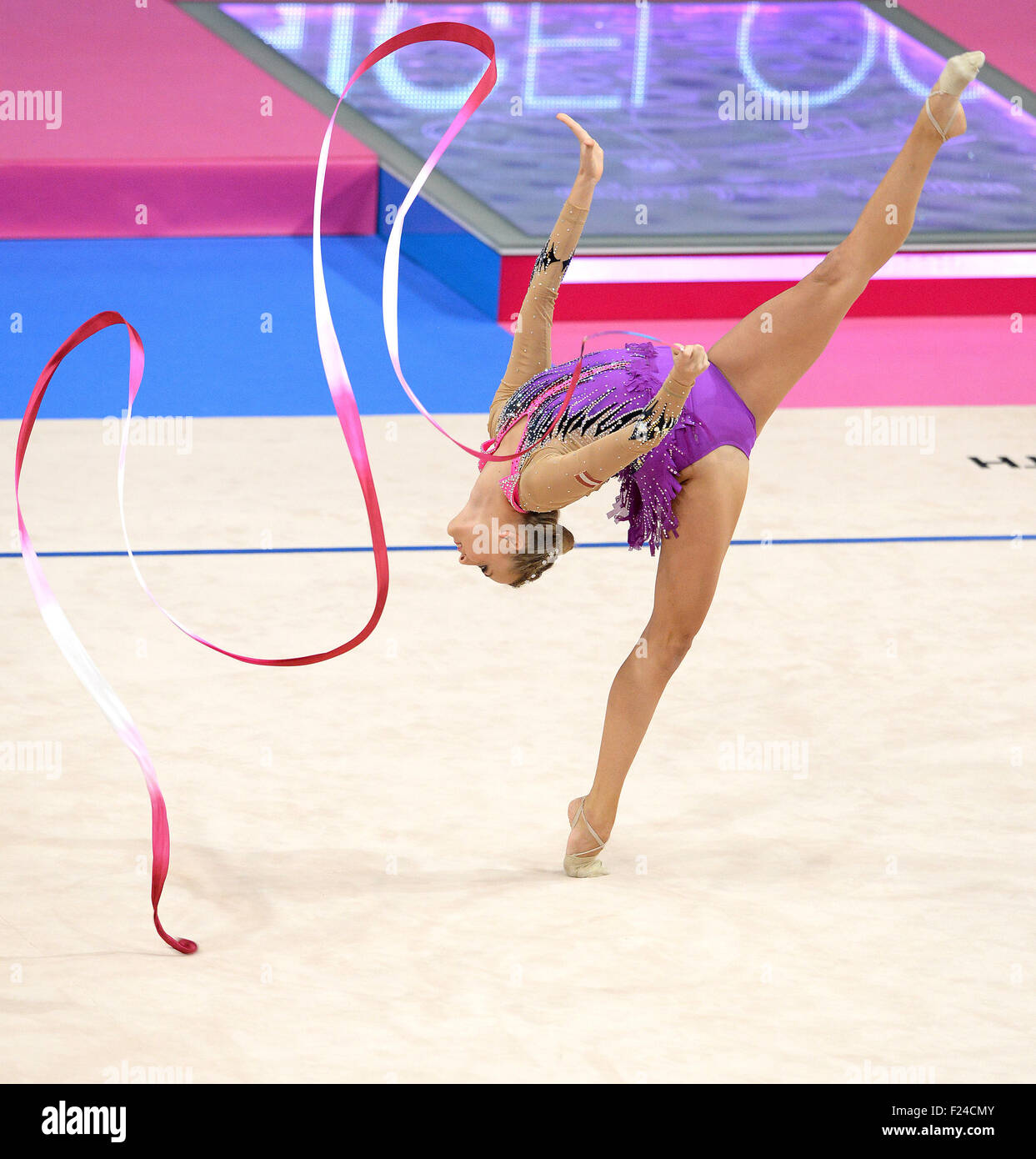 Stuttgart, Germany. 11th Sep, 2015. Nicol Ruprecht of Austria in the combined competition at the 2015 World Rhythmic - Stock Image