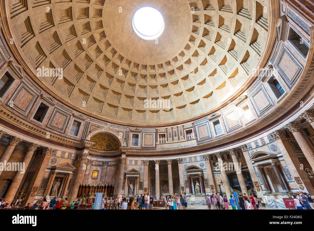 The Pantheon temple of Roman Gods and church interior space Piazza della Rotonda Roma Rome Lazio Italy EU Europe - Stock Image