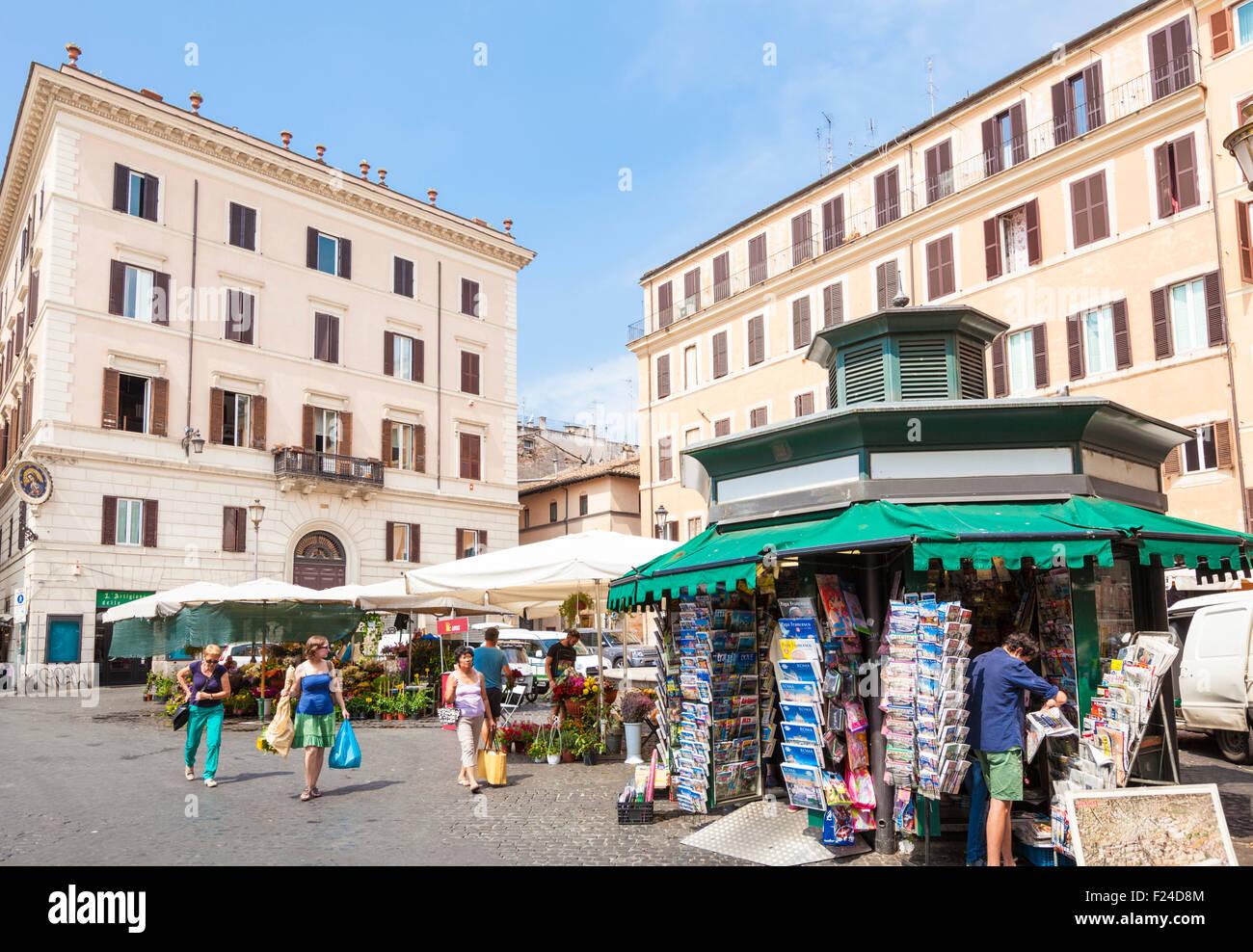 Produce and souvenir Stalls in the market in the Piazza campo de' Fiori Rome Italy roma lazio Italy EU Europe - Stock Image