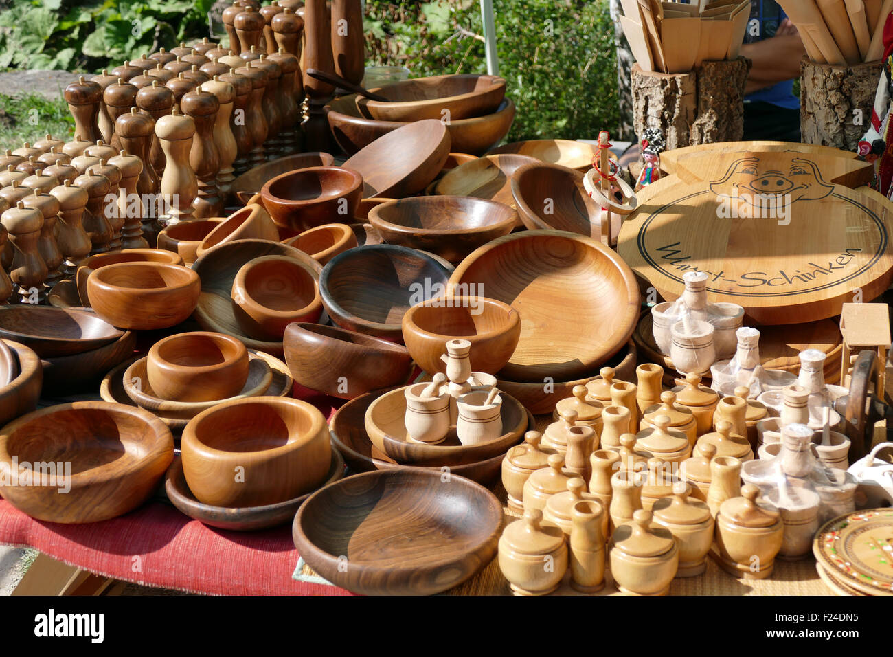 Stall with handmade pottery at the Etar, Bulgaria - Stock Image