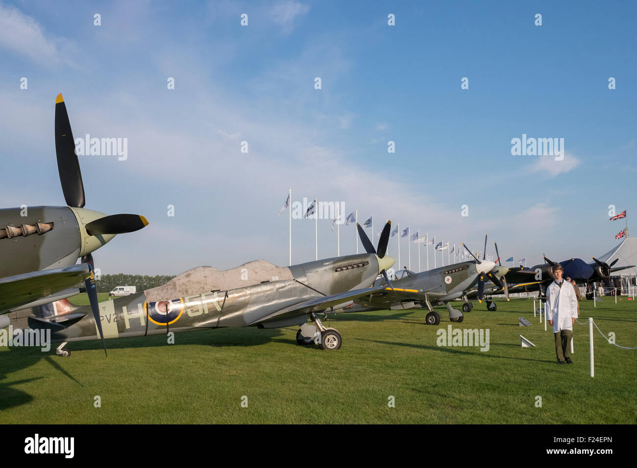 Goodwood, Chichester, West Sussex, UK. 11th September, 2015. Image showing row of spifire aircraft. image showing - Stock Image