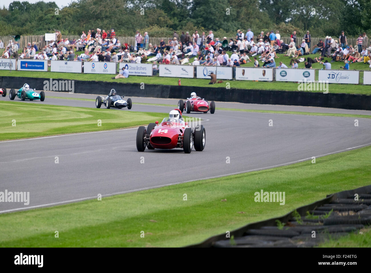 Goodwood, Chichester, West Sussex, UK. 11th September, 2015. Image showing Motor racing action during a practice - Stock Image