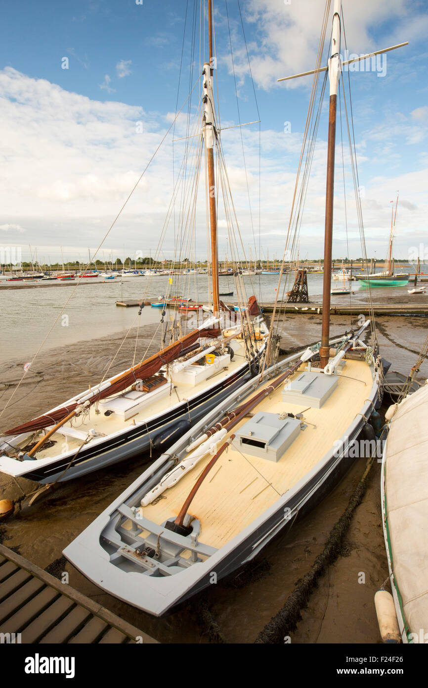 Traditional wooden Smack fishing boats in Brightlingsea, Essex, UK. - Stock Image