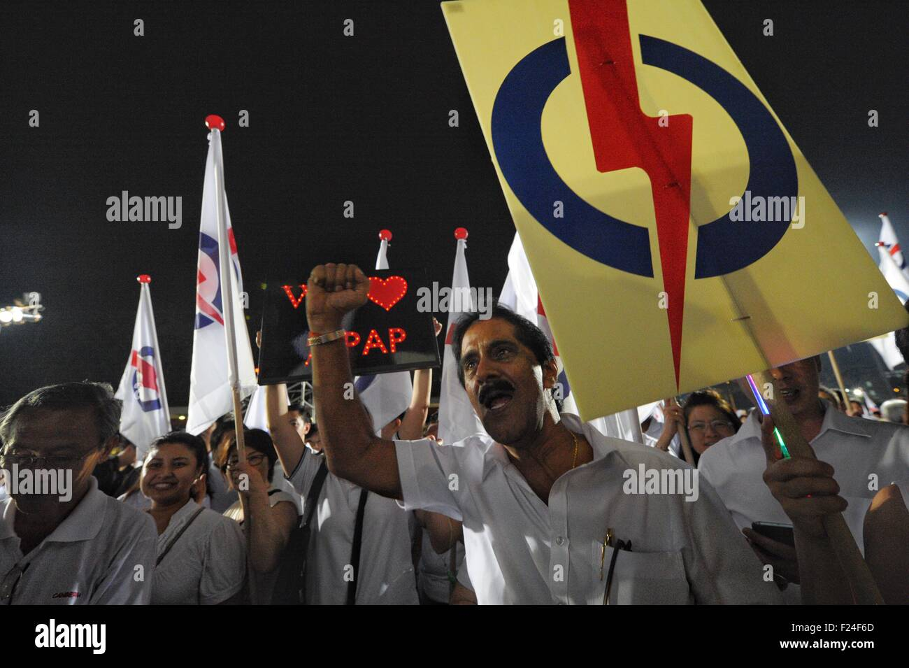 Singapore. 11th Sep, 2015. Singapore's People's Action Party's (PAP) supporters cheer at the assembly - Stock Image
