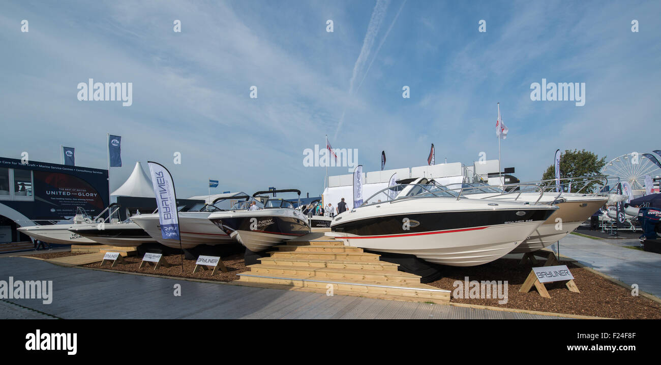 Southampton, UK. 11th September 2015. Southampton Boat Show 2015. The byliner stand with an impressive fan of speedboats. - Stock Image