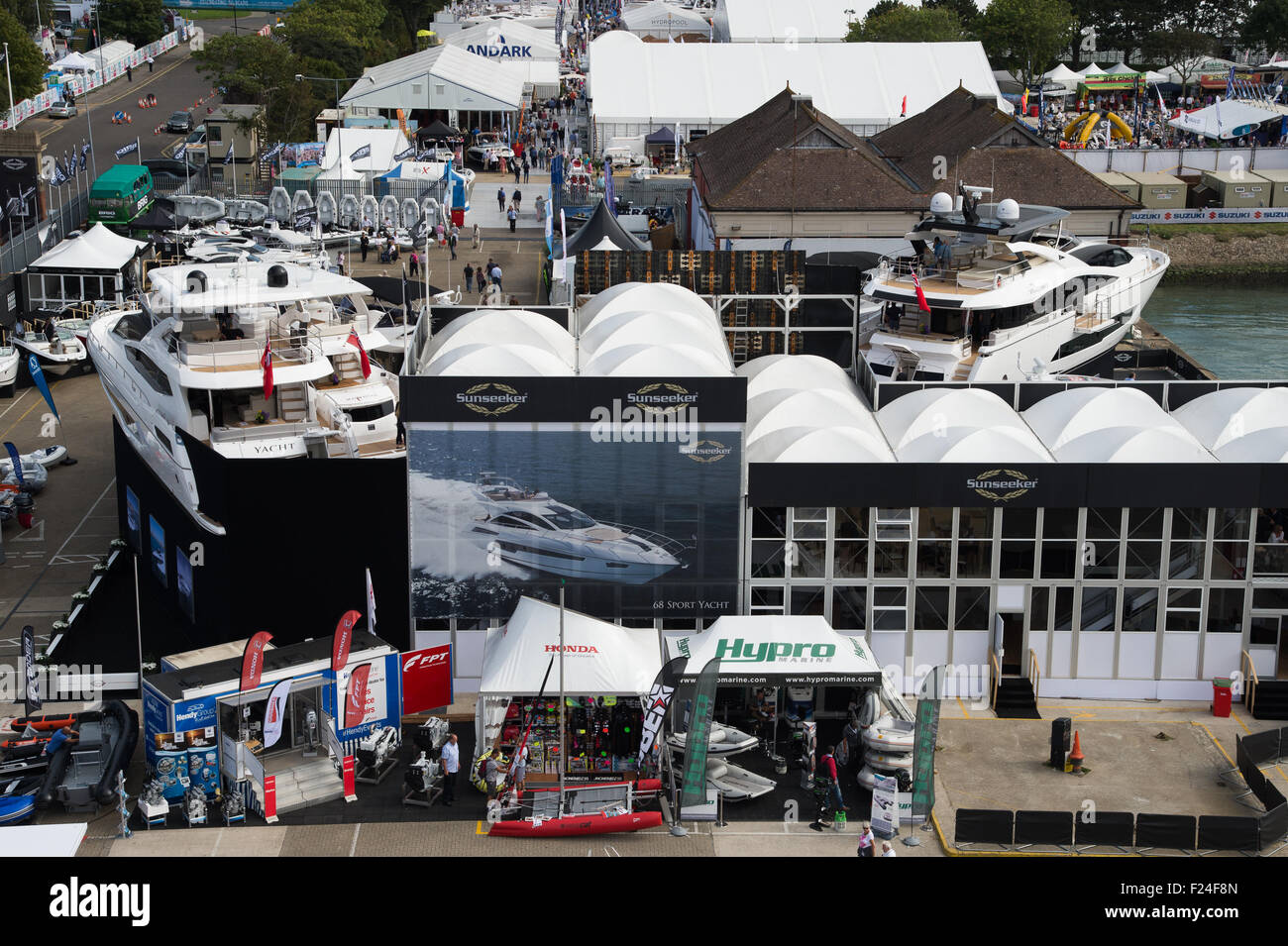 Southampton, UK. 11th September 2015. Southampton Boat Show 2015. A view of the boat show exhibition area from the Stock Photo