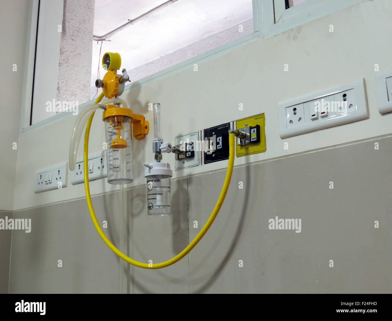 An emergency equipment setup of oxygen and other components at a hospital. - Stock Image