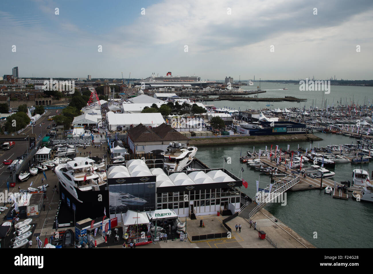 Southampton, UK. 11th September 2015. Southampton Boat Show 2015. A general view of the boat show exhibition area Stock Photo