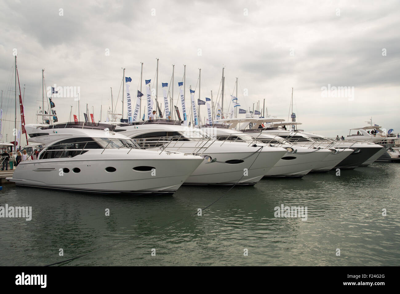 Southampton, UK. 11th September 2015. Southampton Boat Show 2015. A row of Princess yachts moored in the marina. Stock Photo