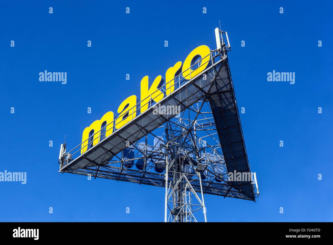 Makro, advertising pylon, sign, ad, Prague, Czech Republic - Stock Image