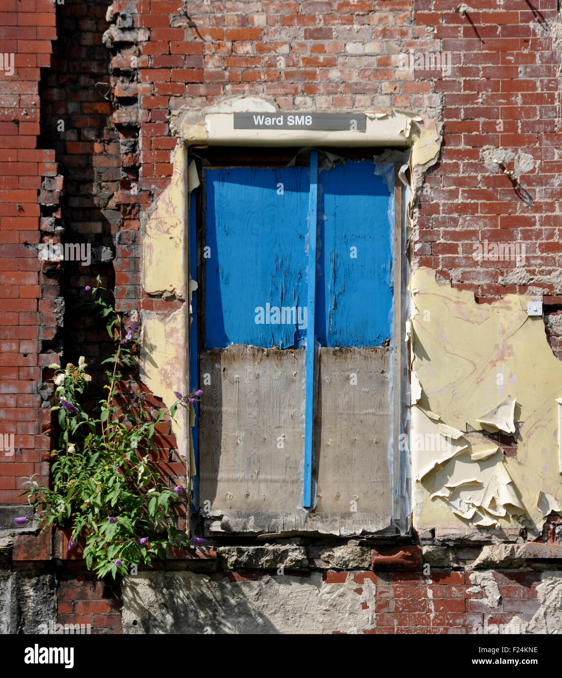 Door formerly in an NHS hospital, showing ward number whilst rest of building has been knocked down. DemonstrateS - Stock Image
