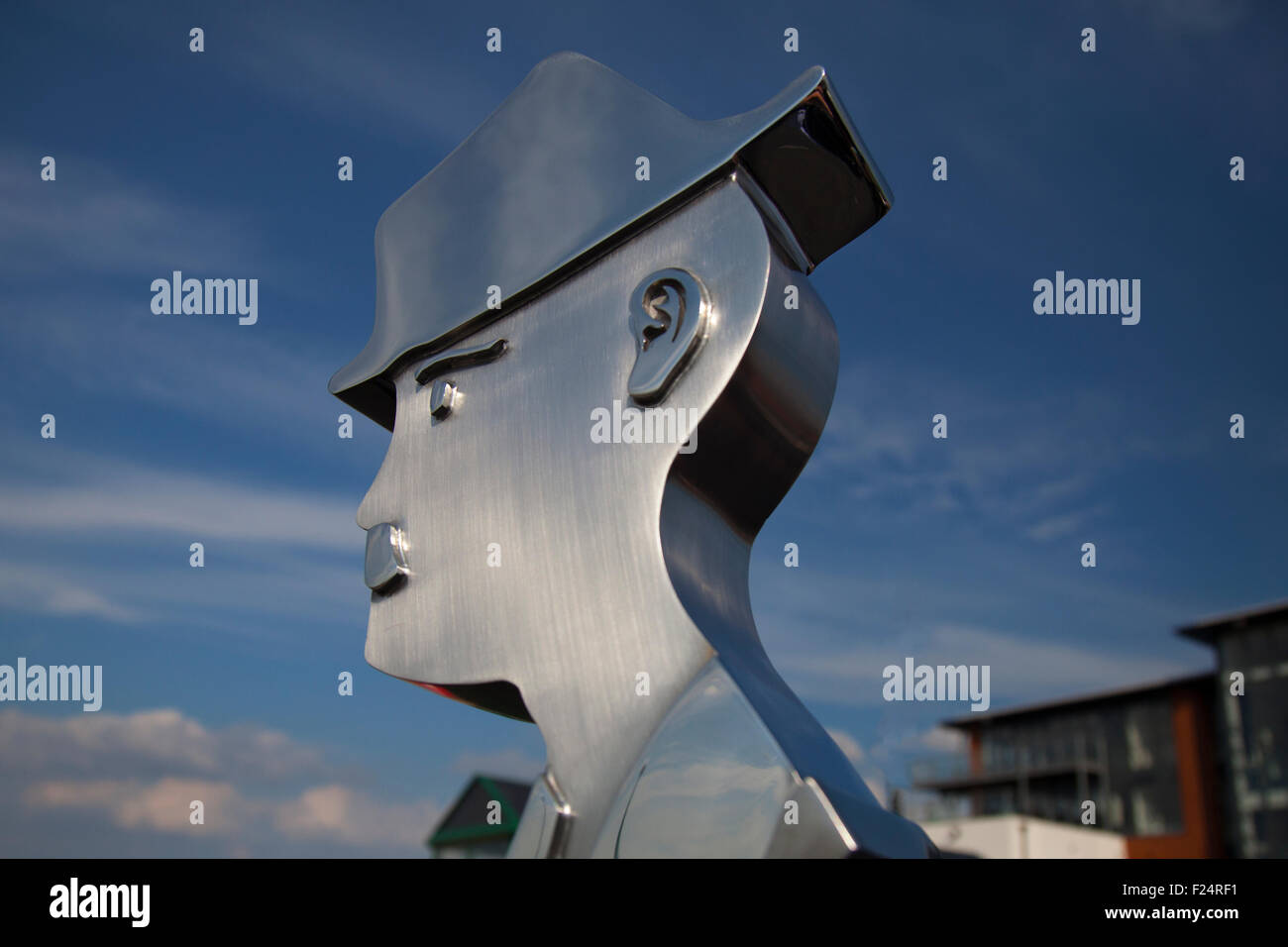 Knott End, Pressal, Lancashire UK. 11th September, 2015. The Lowry statue created by WEC Group Ltd Apprentices at - Stock Image