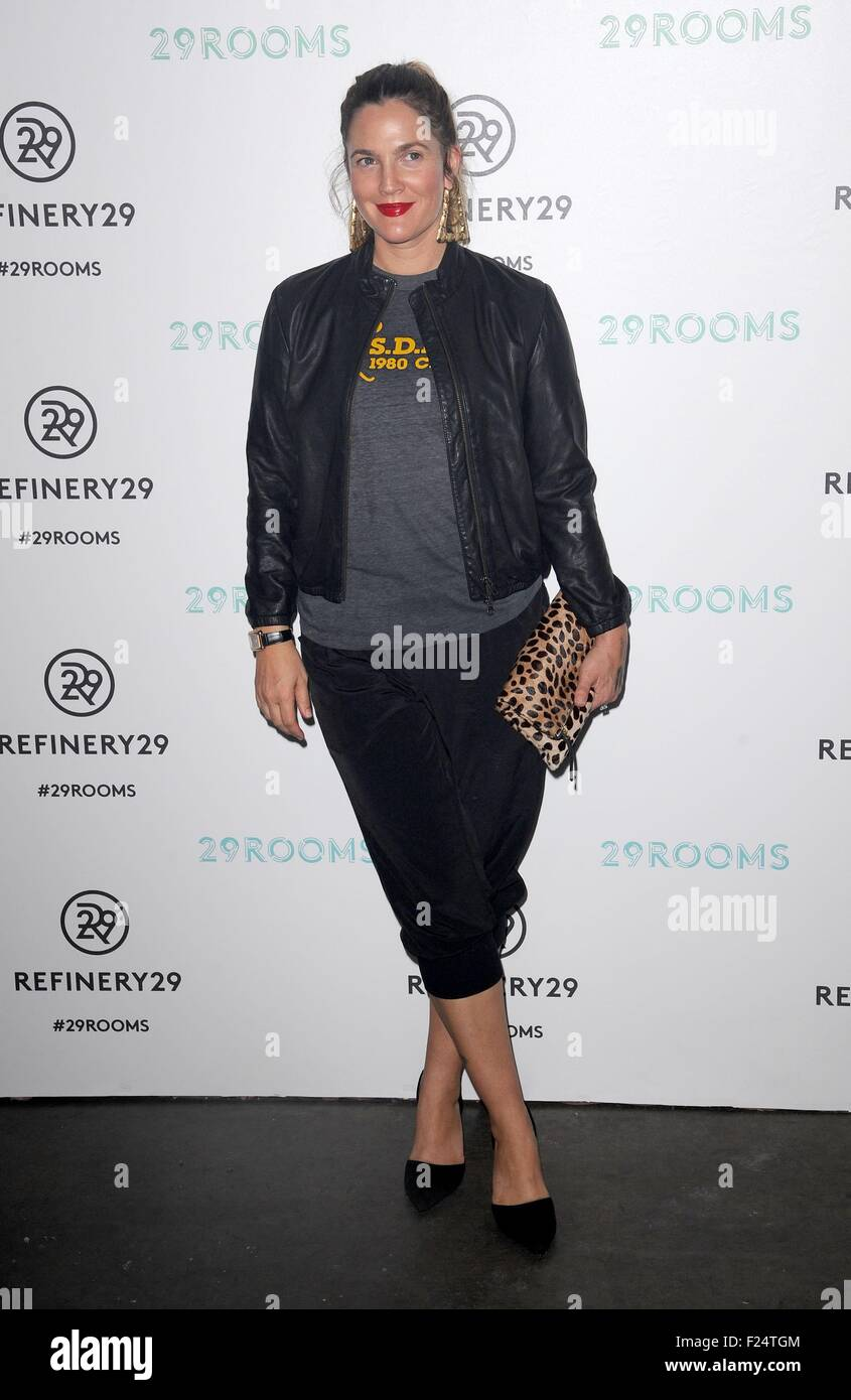 Brooklyn, NY, USA. 10th Sep, 2015. Drew Barrymore at arrivals for Refinery29 Fashion Week Destination: 29Rooms Opening Stock Photo