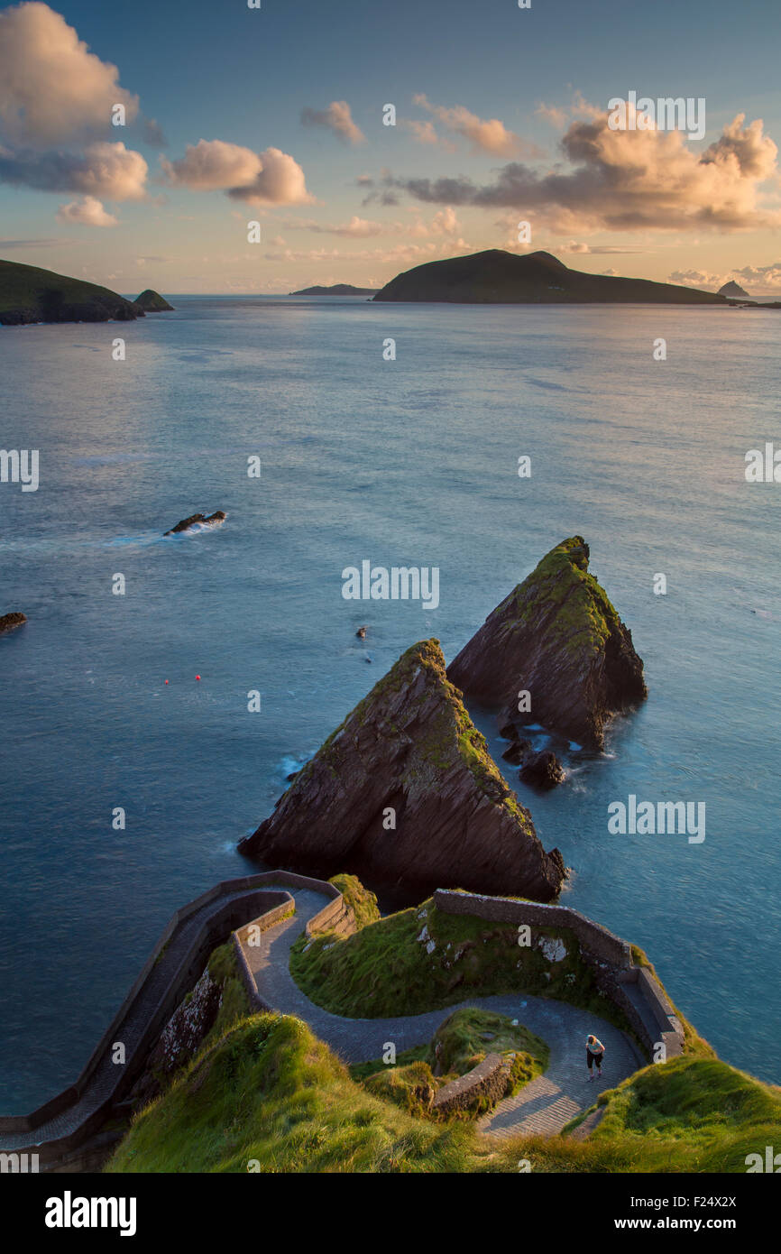 Sunset over windy road to Dunquin Harbor, Dunquin, County Kerry, Republic of Ireland Stock Photo