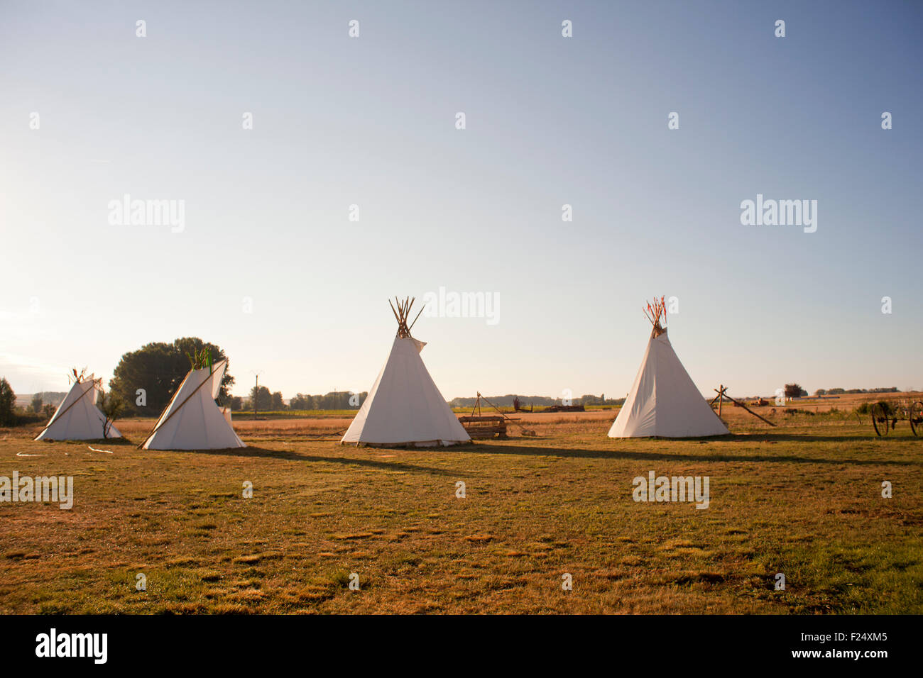 Native American Tee Pees in the morning - Stock Image