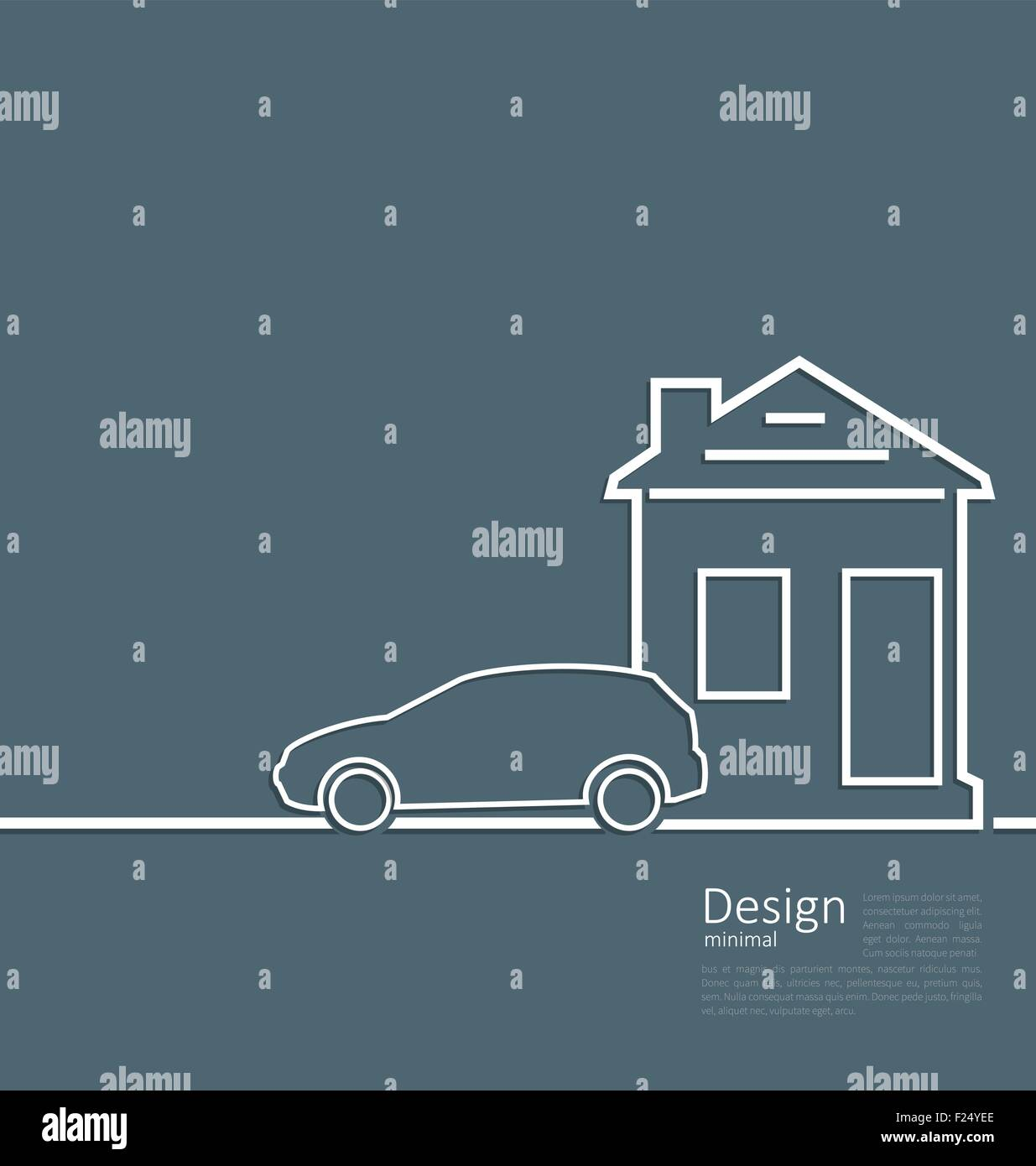 Web template house and parking car logo in minimal flat style cl - Stock Vector