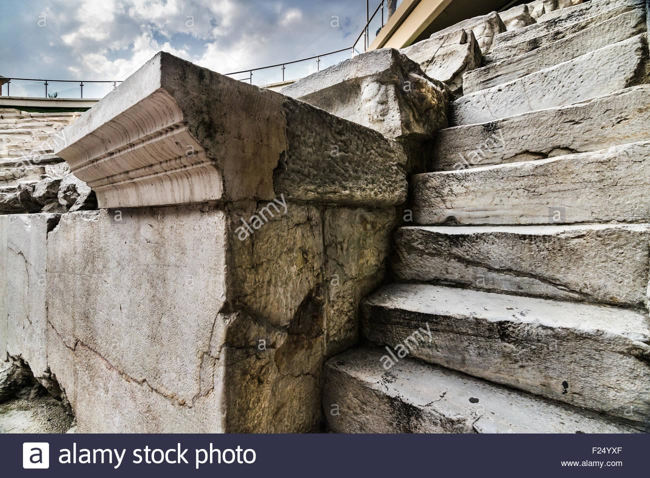 Gladiator Arena Of Roman Stadium With Stairs Closeup Stock Photo