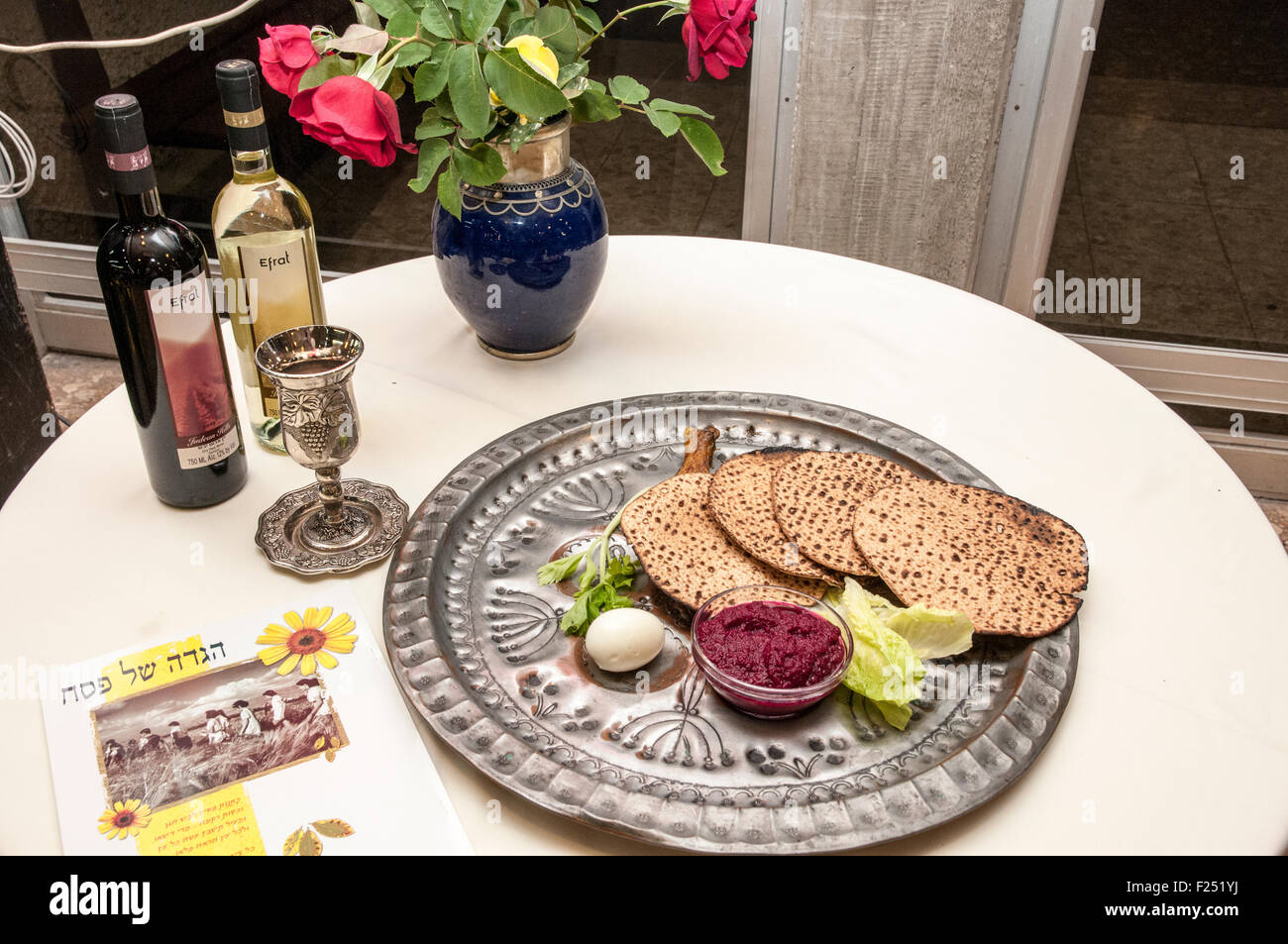 Traditional ritual dish for the Passover Seder at Kibbutz Ashdot Yaacov, Israel - Stock Image