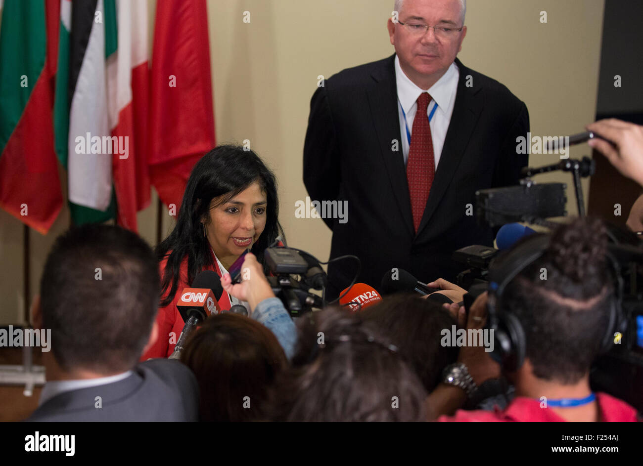 New York City, United States. 11th Sep, 2015. Press Conference by Delcy Eloina Rodriguez Gomez, Minister for Foreign - Stock Image