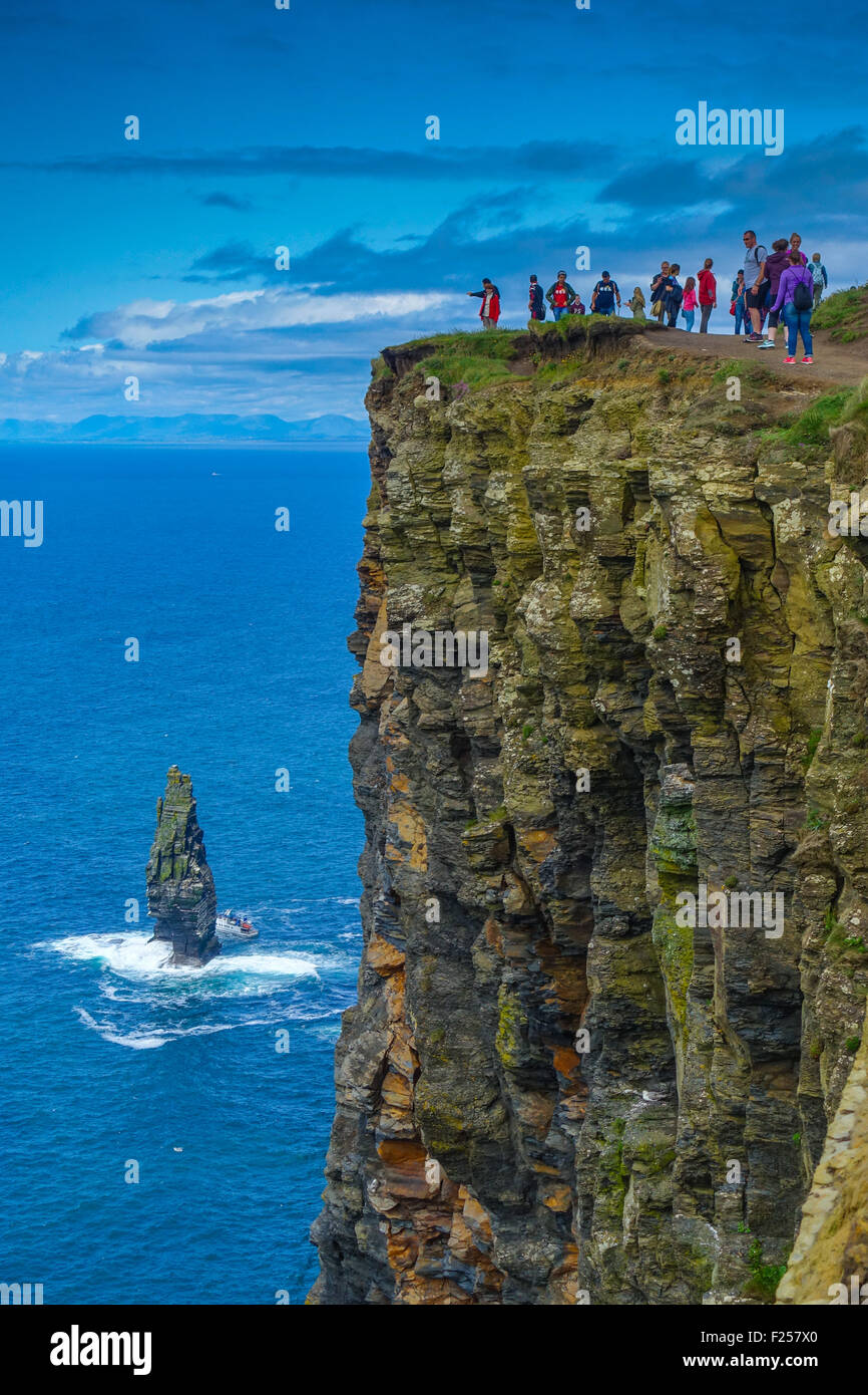 Cliffs of Moher with tourists, County Galway, Ireland - Stock Image
