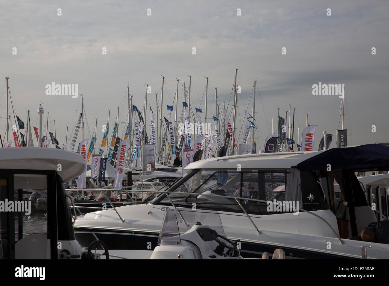 Southampton,UK,11th September 2015,Flags fly at the Southampton Boat show 2015 Britain's biggest boating festiva Stock Photo