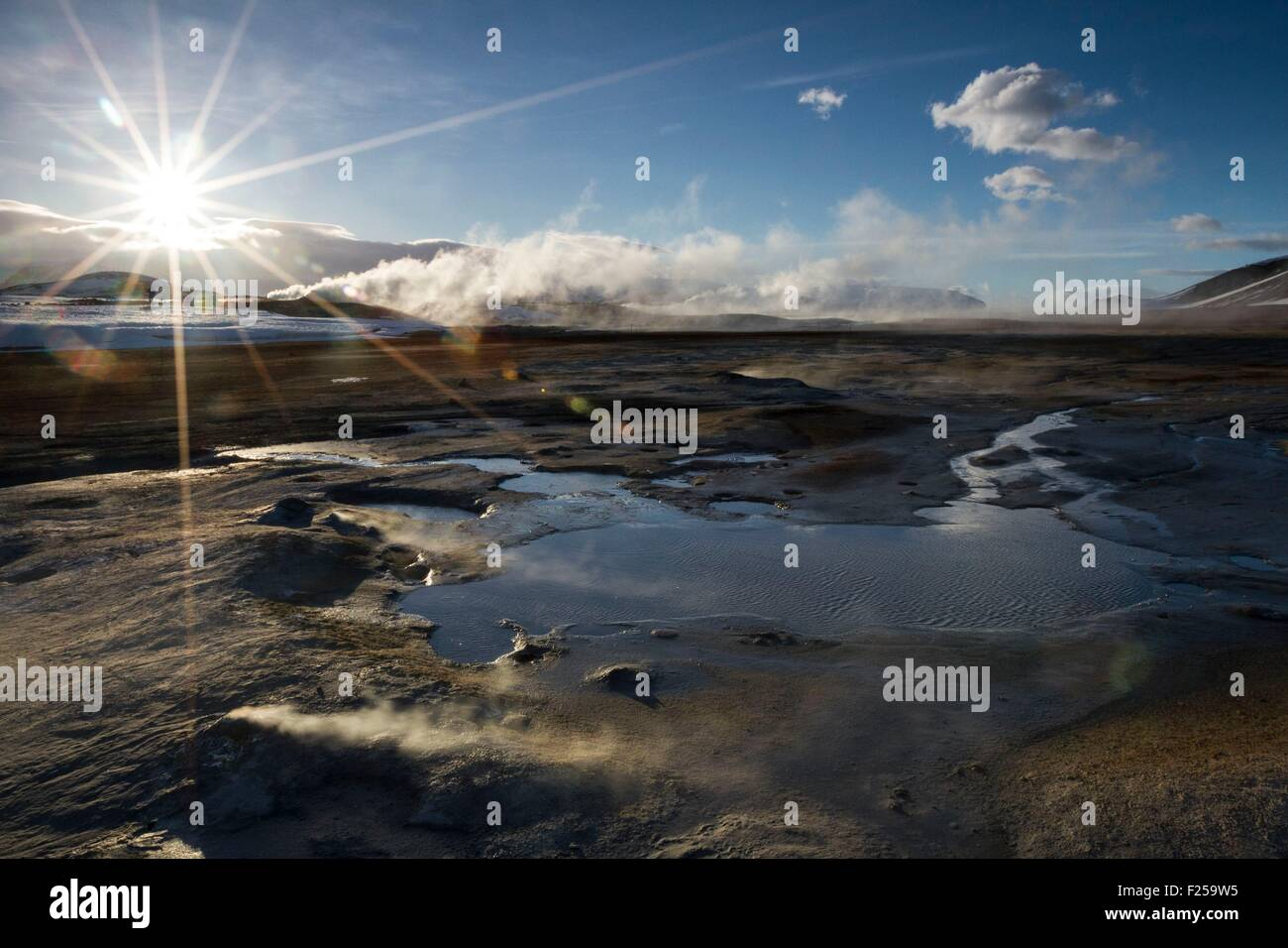 Iceland, Northeast, Namafjall mountain, Hot spring and steam field Hverir, hotspot and geological fault - Stock Image