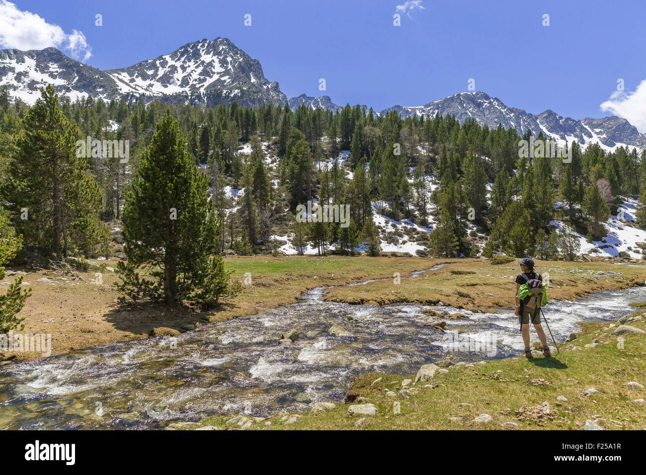 Andorra, Escaldes Engordany, hiker in the the Madriu-Perafita-Claror valley, listed as World Heritage by UNESCO - Stock Image