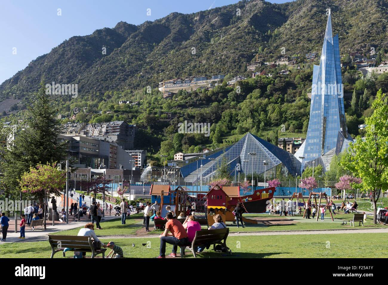 Andorra, Andorra La Vella, capital city of Andorra state, Escaldes Engordany, Caldea thermal spa and wellness resort - Stock Image