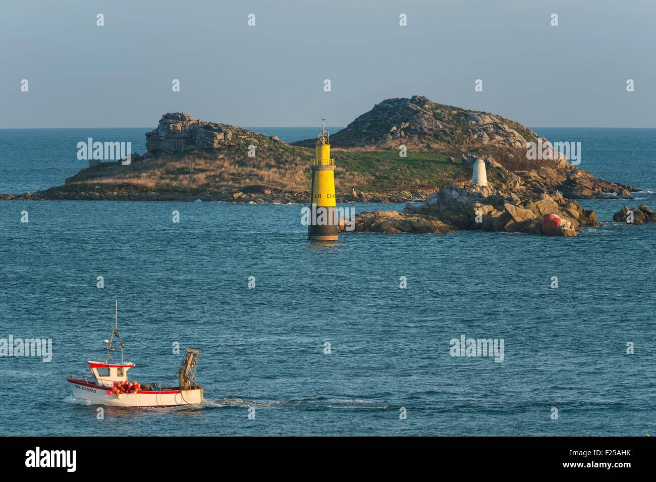 France, Finistere, Roscoff, islet of Ty Saozon and fish boat - Stock Image