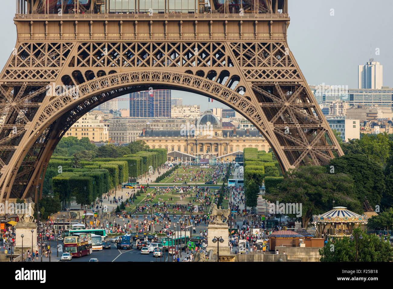 France, Paris, the Eiffel Tower and the Mars Champs - Stock Image
