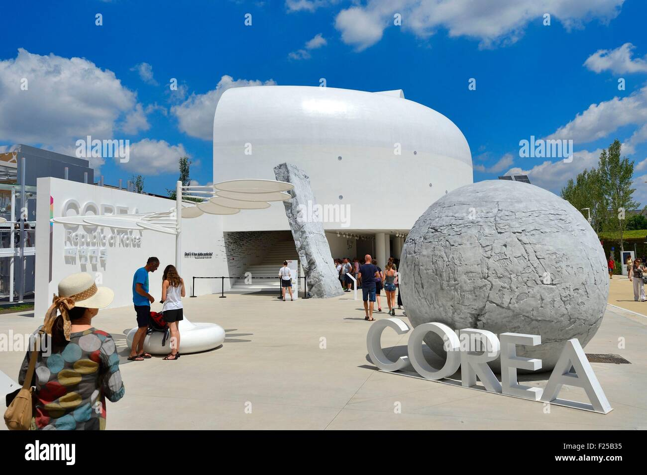 Italy, Lombardy, Milan, World Exhibition Expo Milano 2015 Decumanus, building dedicated to the Republic of Korea - Stock Image