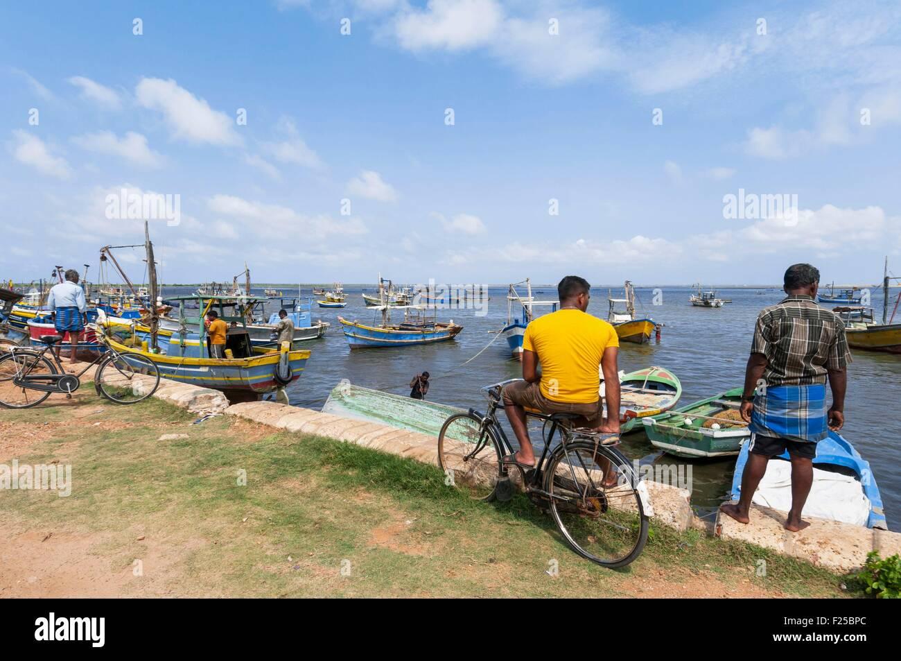 Sri Lanka, Northern Province, Jaffna region, fisher harbour in town - Stock Image