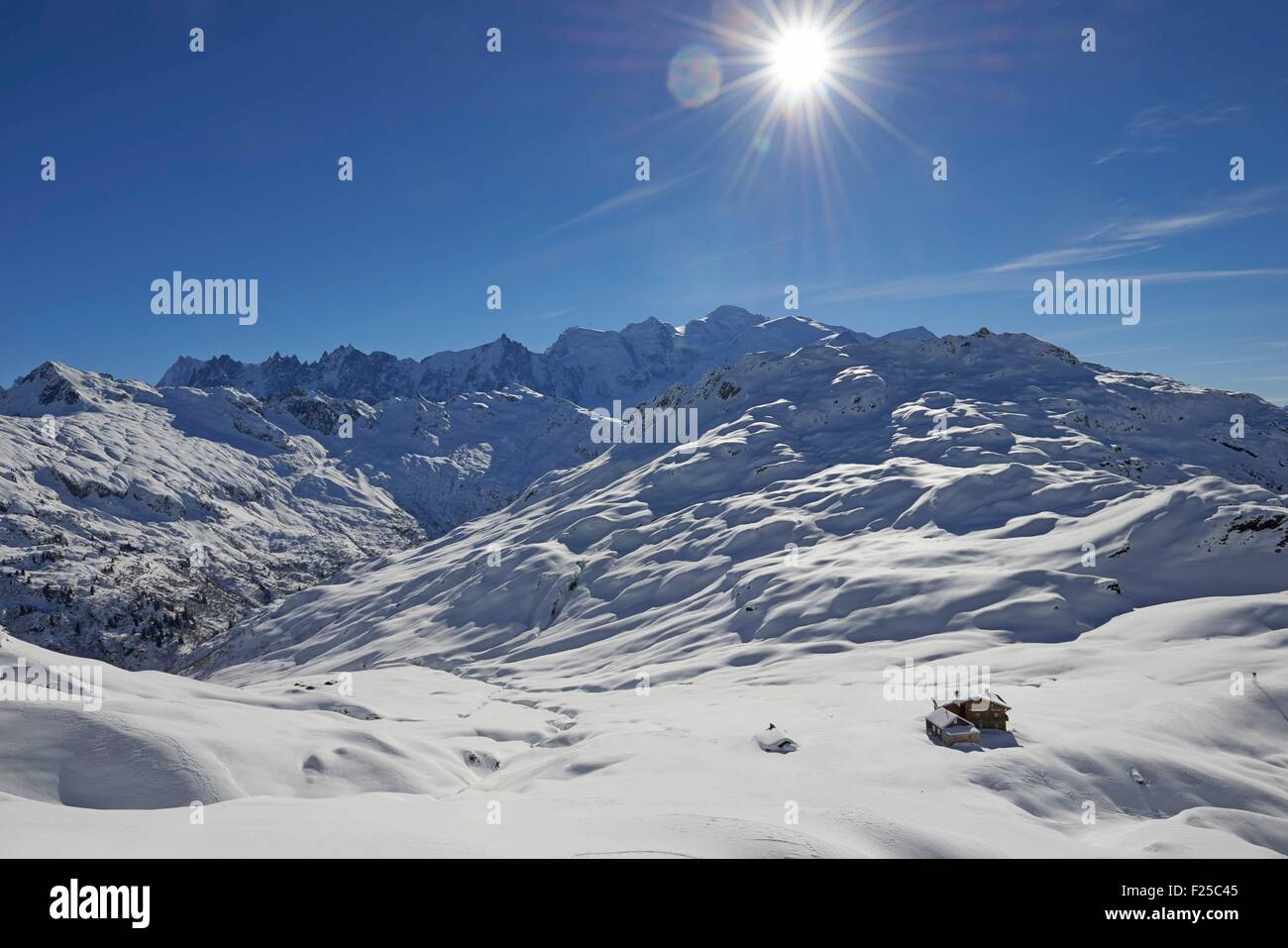 France, Haute Savoie, Passy, the Anterne pass, Fis, and the Mont Blanc range - Stock Image